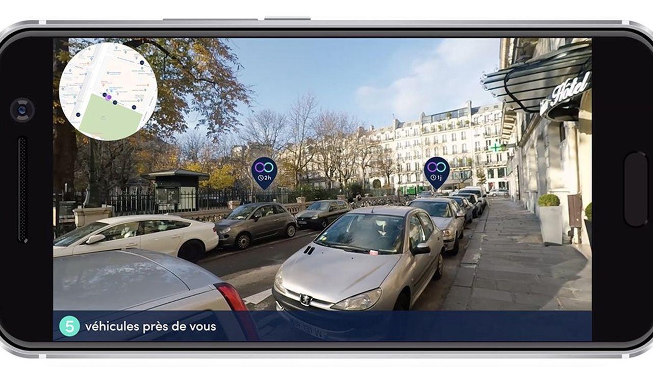 Visualisation immédiate des voitures disponibles à la location dans la rue avec Koolicar Go.