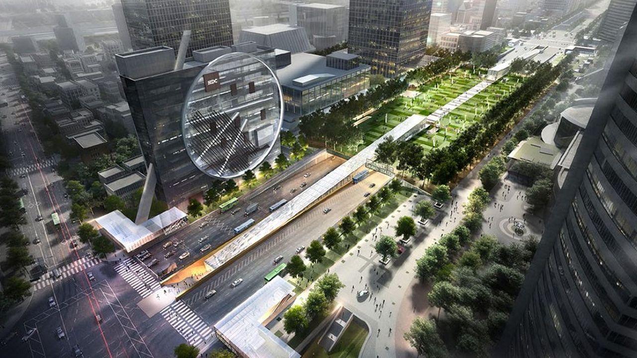 Dessiné par l'architecte français Dominique Perrault, ce grand centre multimodal souterrain ouvrira à Gangnam en 2023.