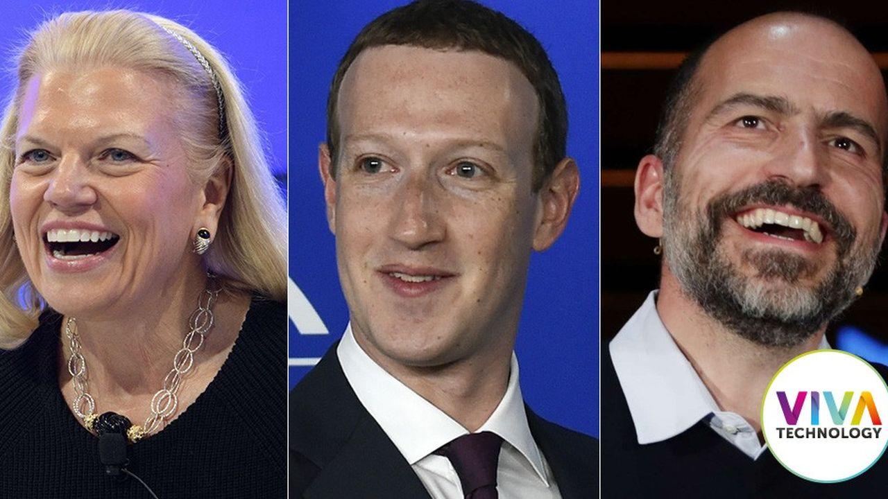 De gauche à droite : Ginni Rometty (IBM), Mark Zuckerberg (Facebook) et Dara Khosrowshahi (Uber).