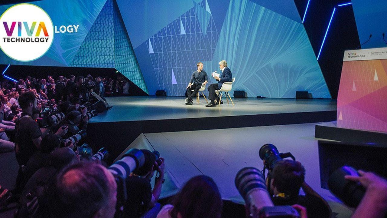 Mark Zuckerberg, PDG de Facebook, a clôturé la première journée du Salon Viva Technology à la Porte de Versailles.