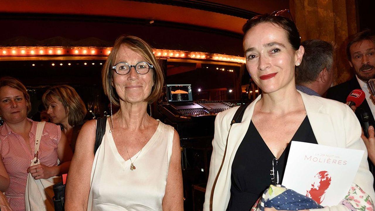 La ministre de la culture, Francoise Nyssen, et la presidente de France Televisions, Delphine Ernotte, ont beaucoup travaillé ensemble ces derniers mois (Ici, lors de la 29eNuit des Molieres aux Folies Bergère, Paris).