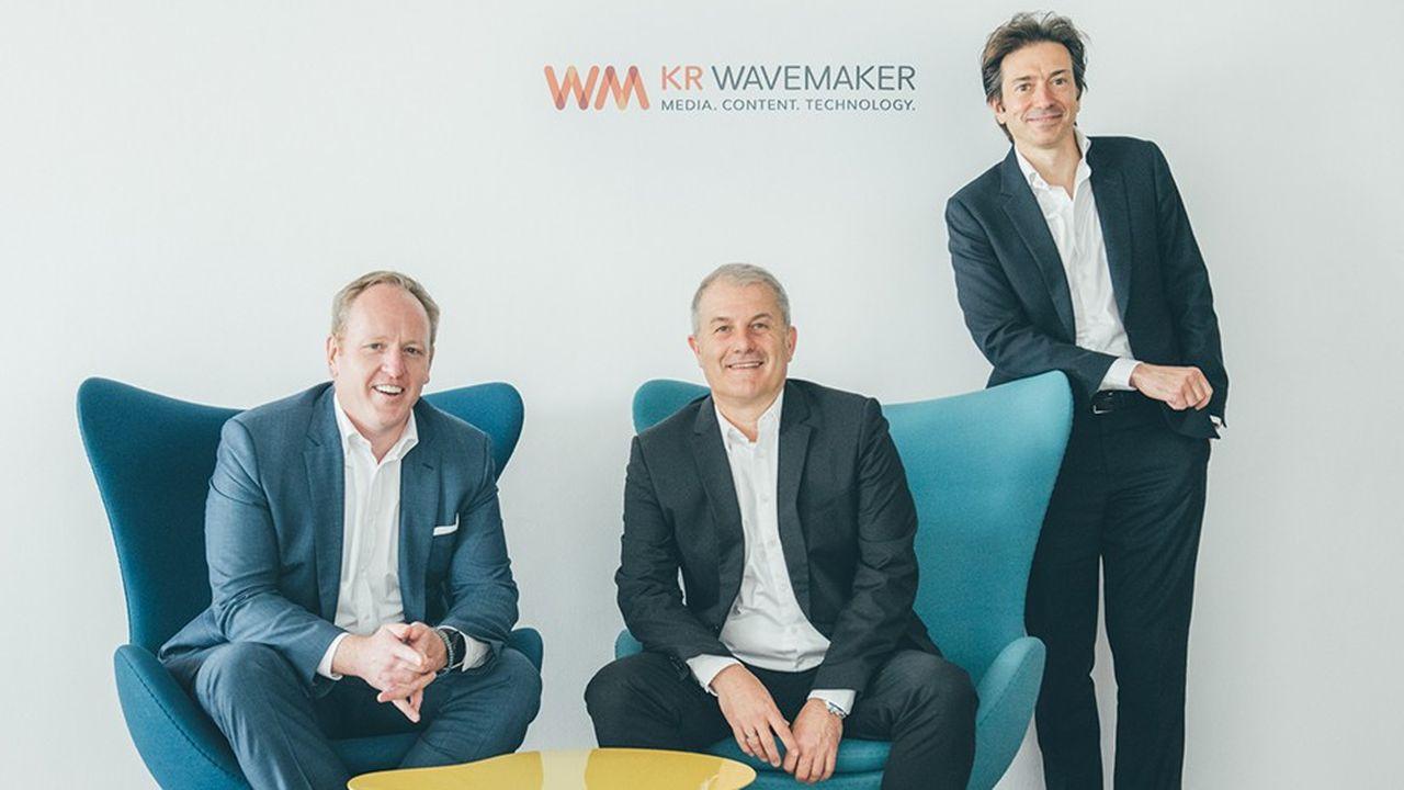 De gauche à droiteTime Castree CEO Monde de WavemakerJean Philippe Bertaux CEO France de KR Wavemaker Mathieu Morgensztern CEO France GroupM et WPP