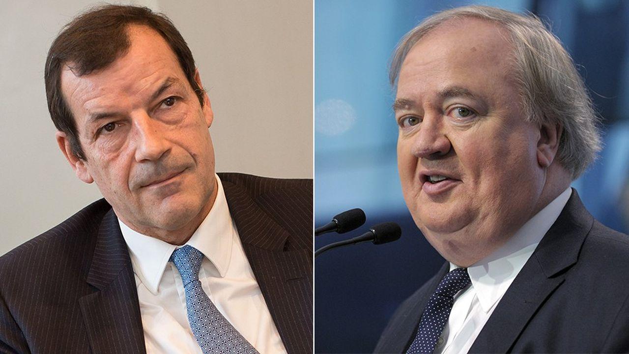 Covéa, le groupe présidé par Thierry Derez (à gauche), est le premier actionnaire de SCOR, le réassureur dirigé par Denis Kessler (à droite).