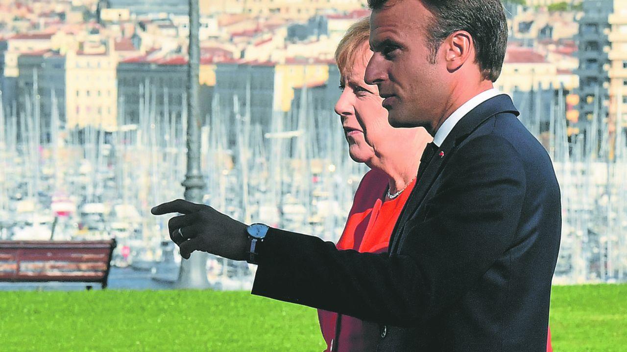 Emmanuel Macron et Angela Merkel à Marseille le 7 Septembre.