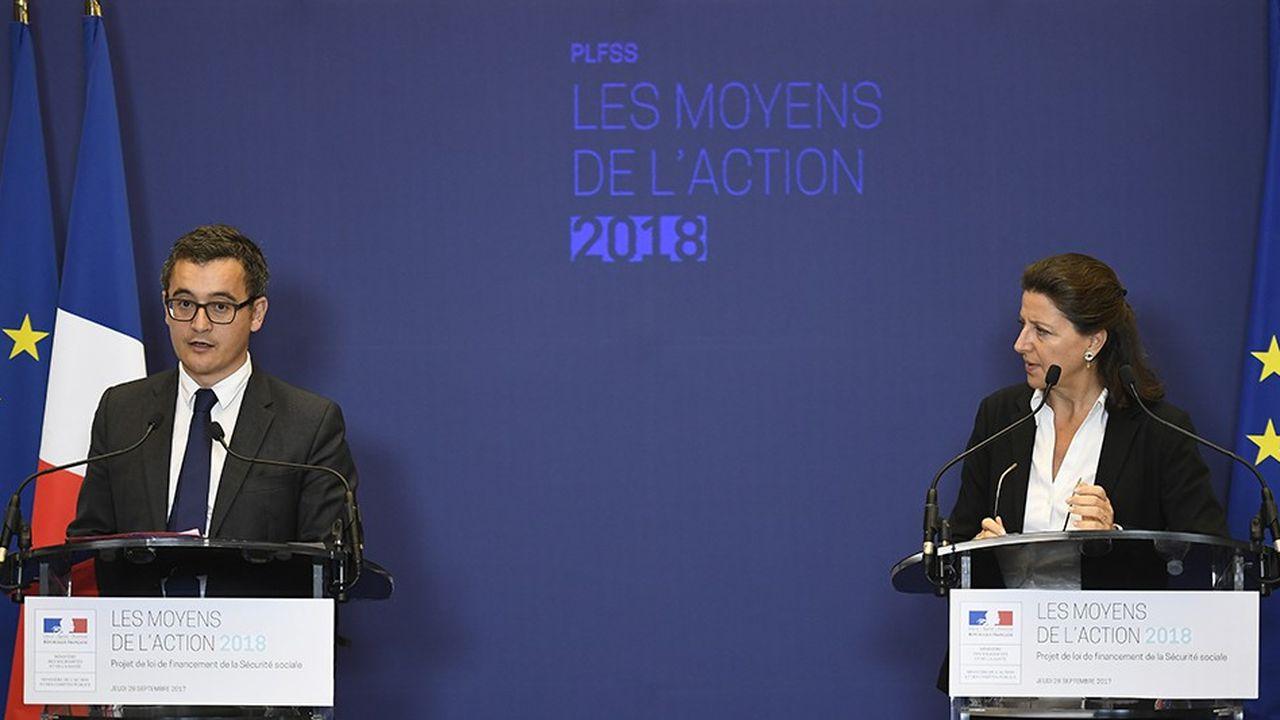 Le ministre de l'Action et des Comptes publics Gérald Darmanin et la ministre des Solidarités et de la Santé Agnès Buzyn peinent à dégager les économies prévues.