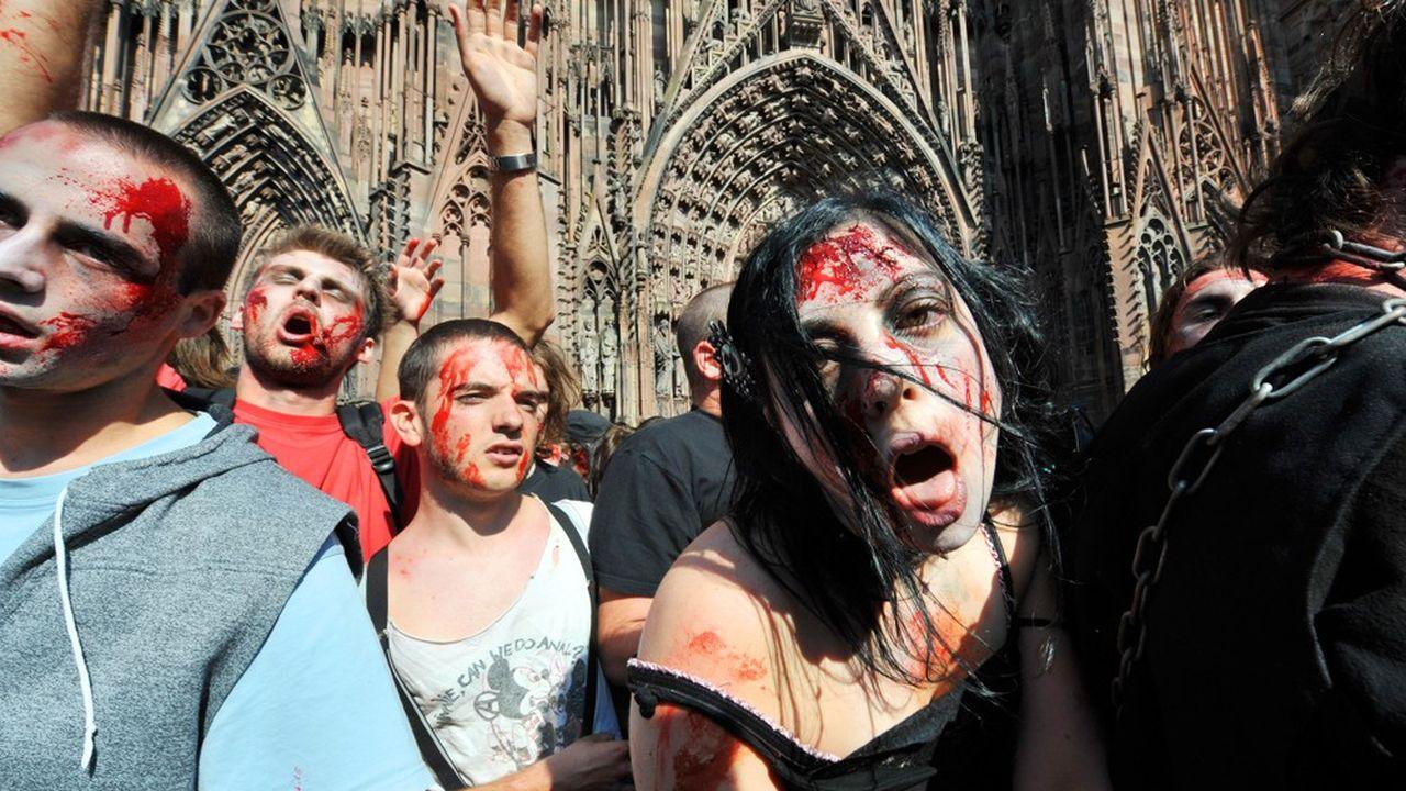 Des participants à la «Marche des zombies» lors de l'édition 2009