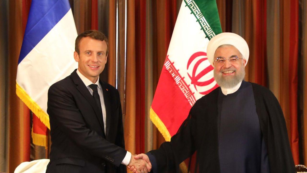 La rencontre d'Emmanuel Macron et du président Hassan Rohani en 2017 aux Nations unies.