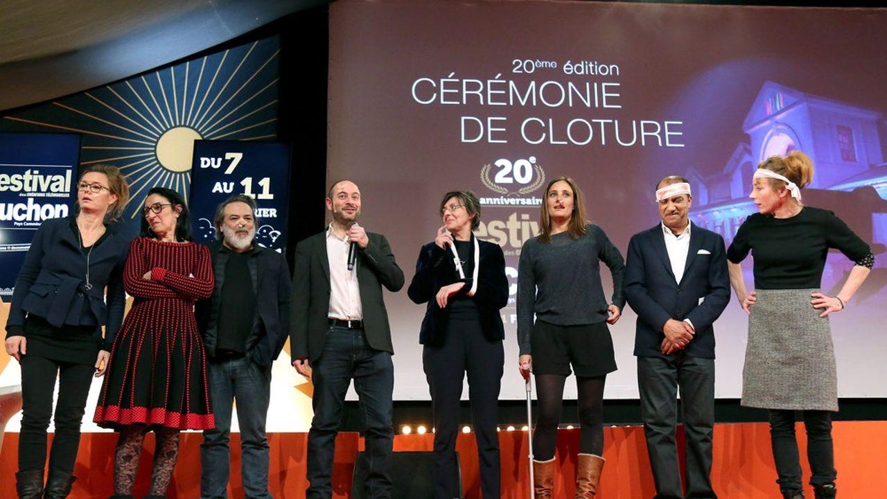 Les membres du jury du dernier festival, en février 2018. De gauche à droite : Caroline Proust, Sylvette Frydman, Xavier Durringer, Alexandre Lessertisseur, Francoise Charpiat, Julie de Bona, Pascal Legitimus et Julie Depardieu.