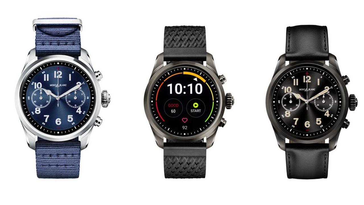 Différentes configurations de cadrans de la Submit 2 , nouvelle smartwatch de Montblanc .