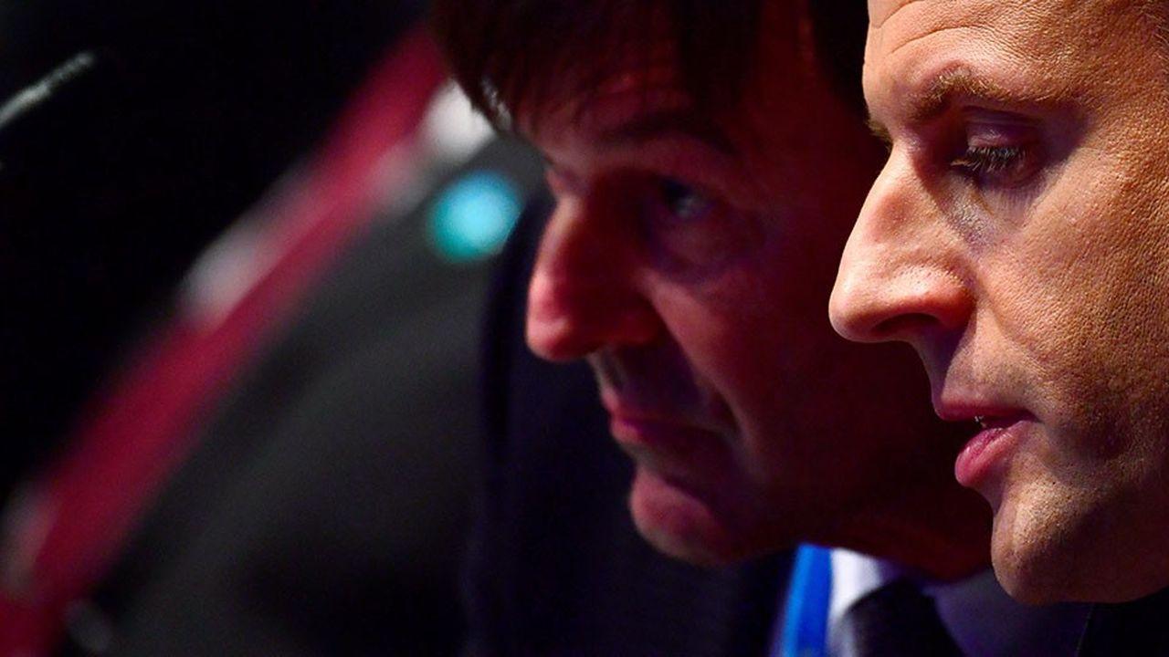 Emmanuel Macron et son ancien ministre de la Transition écologique Nicoals Hulot lors de la COP 23, en novembre2017, à Bonn.