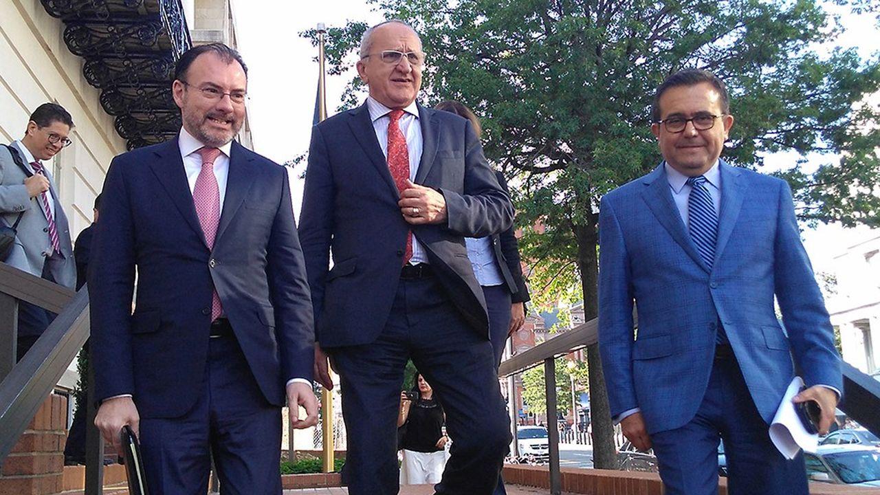 Les négociateurs mexicains Luis Videgaray, Jesus Seade et Ildefonso Guajardo (de gauche à droite), lors des discussions à Washington, cette semaine.