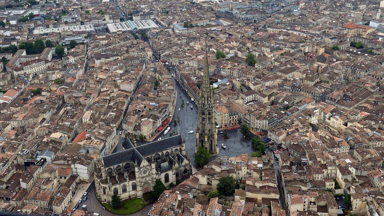 Vue aérienne du centre-ville de Bordeaux, en 2017.