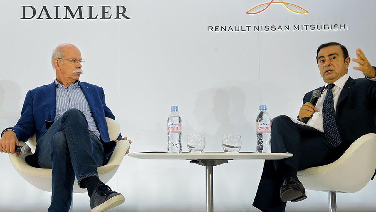 Carlos Ghosn et Dieter Zetsche évoquent la coopération entre l'Alliance Renault-Nissan-Mitubishi et Daimler (Mercedes-Benz), qui remonte à 2010.
