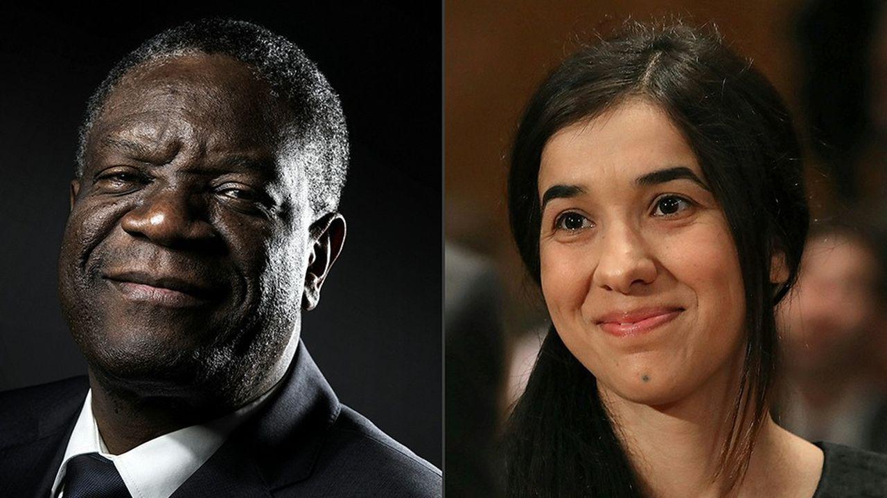 Deux visages pour le Nobel de la paix 2018, celui du Congolais Denis Mukwege et à de la Yazidie Nadia Murad.
