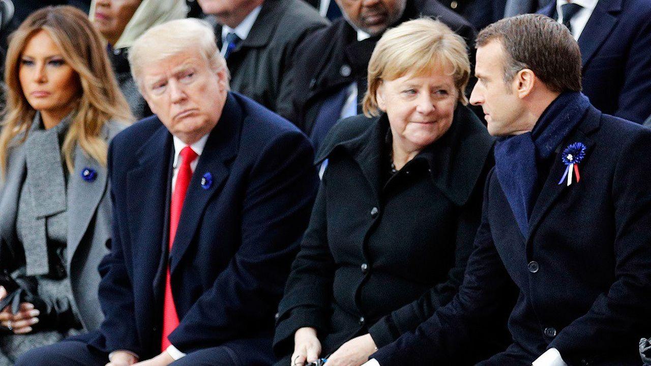 Emmanuel Macron accompagné d'Angela Merkel et de Donald Trump lors des cérémonies du 11novembre à l'Arc de Triomphe.