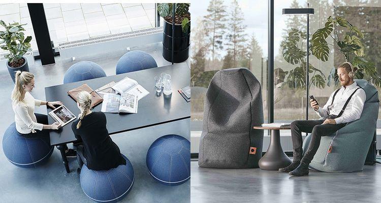 Spécialiste de l'isolation phonique Götessons a développé une ligne de produits bien-être au bureau, les Ballz qui font travailler les abdominaux et Office Nap pour se tenir droit ou faire une petite sieste
