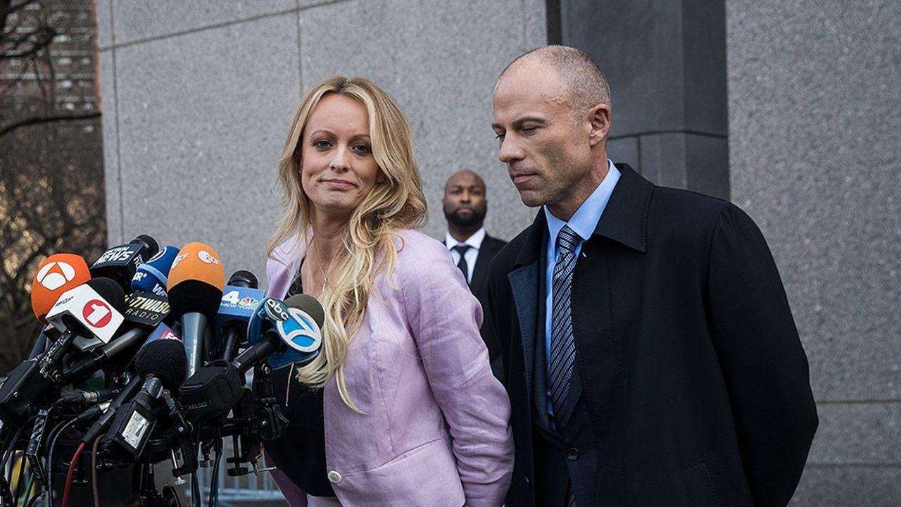 Stormy Daniels et son avocat Michael Avenatti le 16avril 2018 à New York