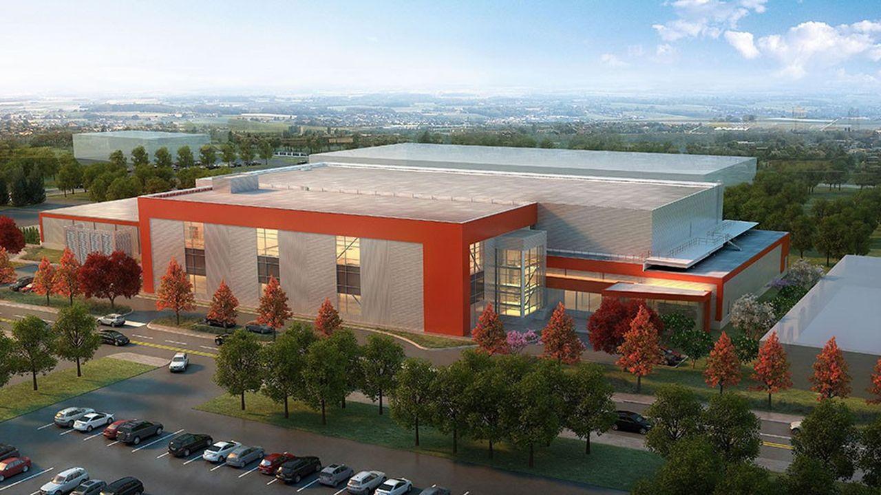 Vue aérienne de la future usine de produits biologiques de Sanofi située à Framingham (Massachusetts)