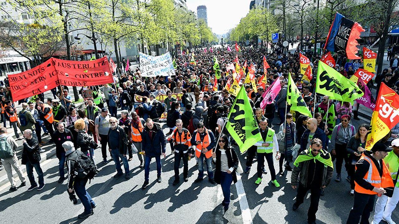 Manifestation des cheminots contre la réforme de la SNCF en avril dernier.