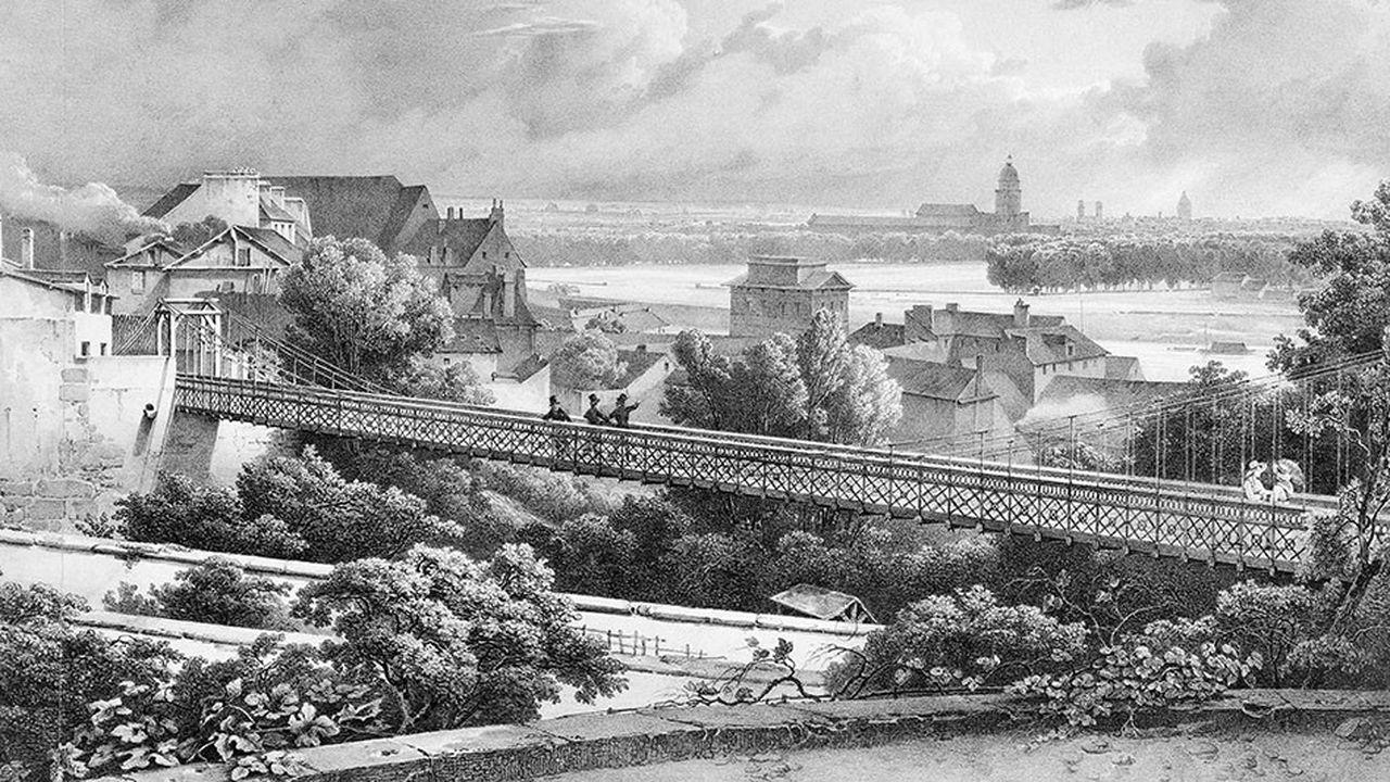 Le « Pont de Passy » (pont suspendu de l'hôtel Delessert) vers 1825. Paris, musée Carnavalet.