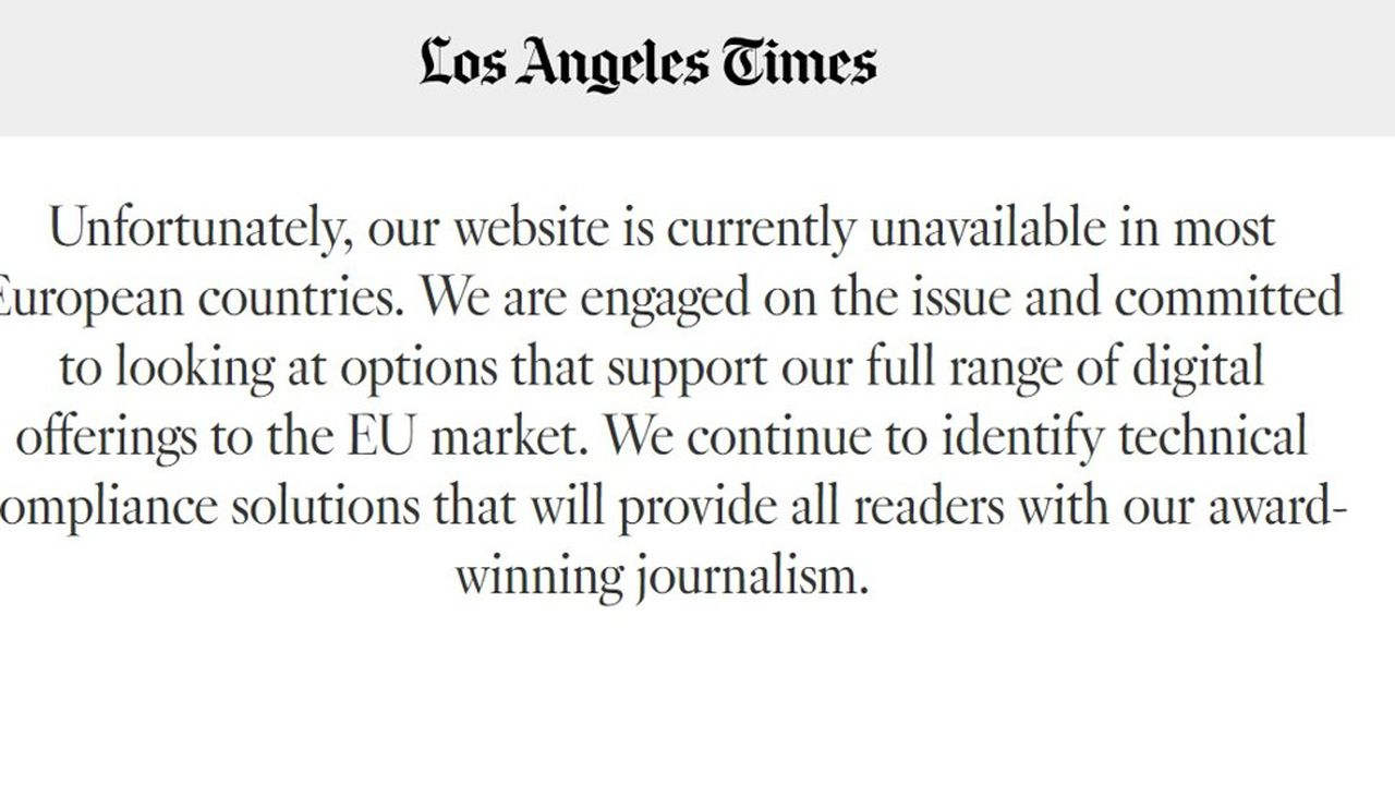 Le site du Los Angeles Times, inaccessible depuis l'UE.