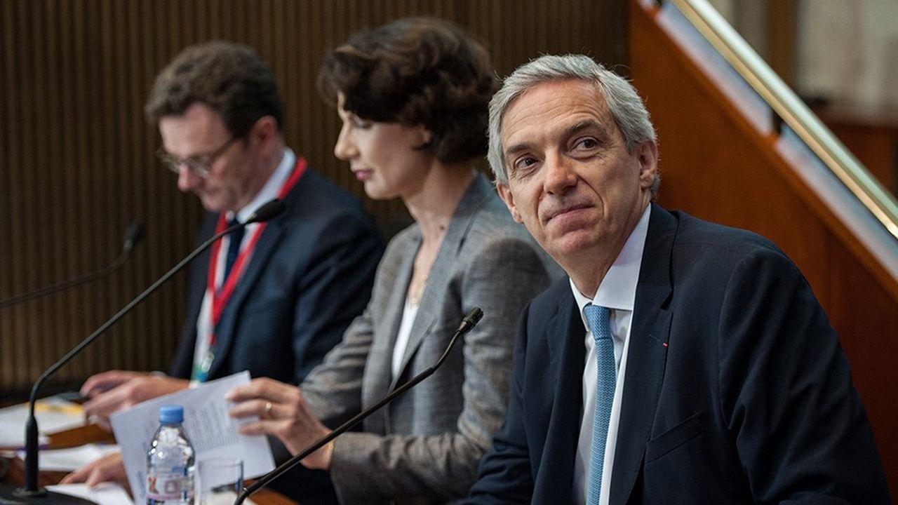 Frederic Motte, Dominique Carlac'h et Alexandre Saubot, trois des six candidats à la présidence du Medef.