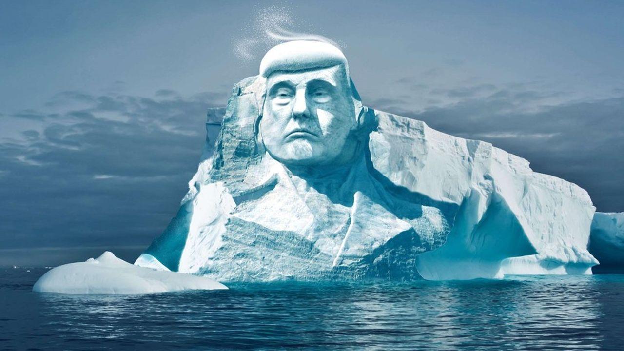 Illustration représentant le visage de Donald Trump sculpté dans un iceberg pour sensibiliser au réchauffement climatique.