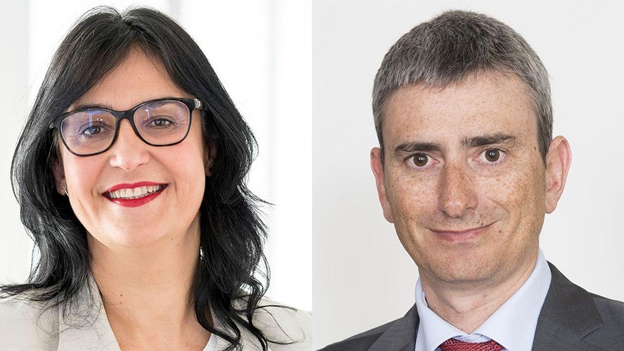 Patricia Ferrand, la présidente (CFDT) de l'Unédic et EricLe Jaouen, chef de file du Medef à l'Unédic.
