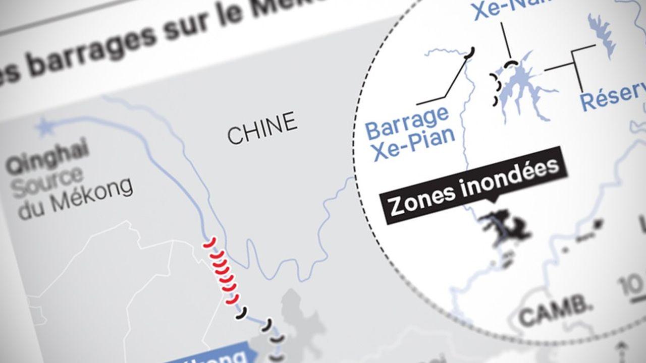 Après avoir pris sa source dans le plateau tibétain, le Mékong parcourt 4.900 kilomètres et traverse six Etats (la Chine, la Birmanie, le Laos, la Thaïlande, le Cambodge et le Vietnam).