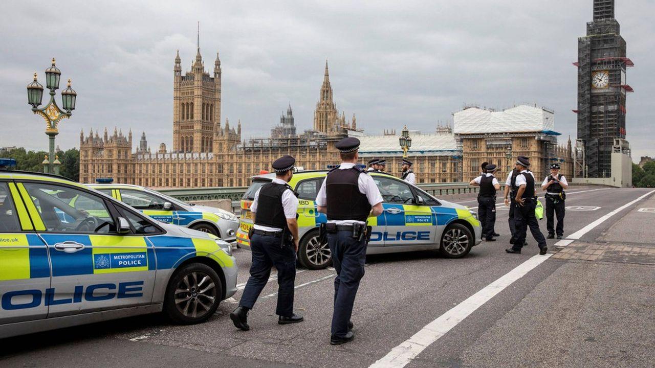 Une dizaine de voitures de police et au moins trois ambulances étaient stationnées près du Parlement, de même que des artificiers et des chiens policiers