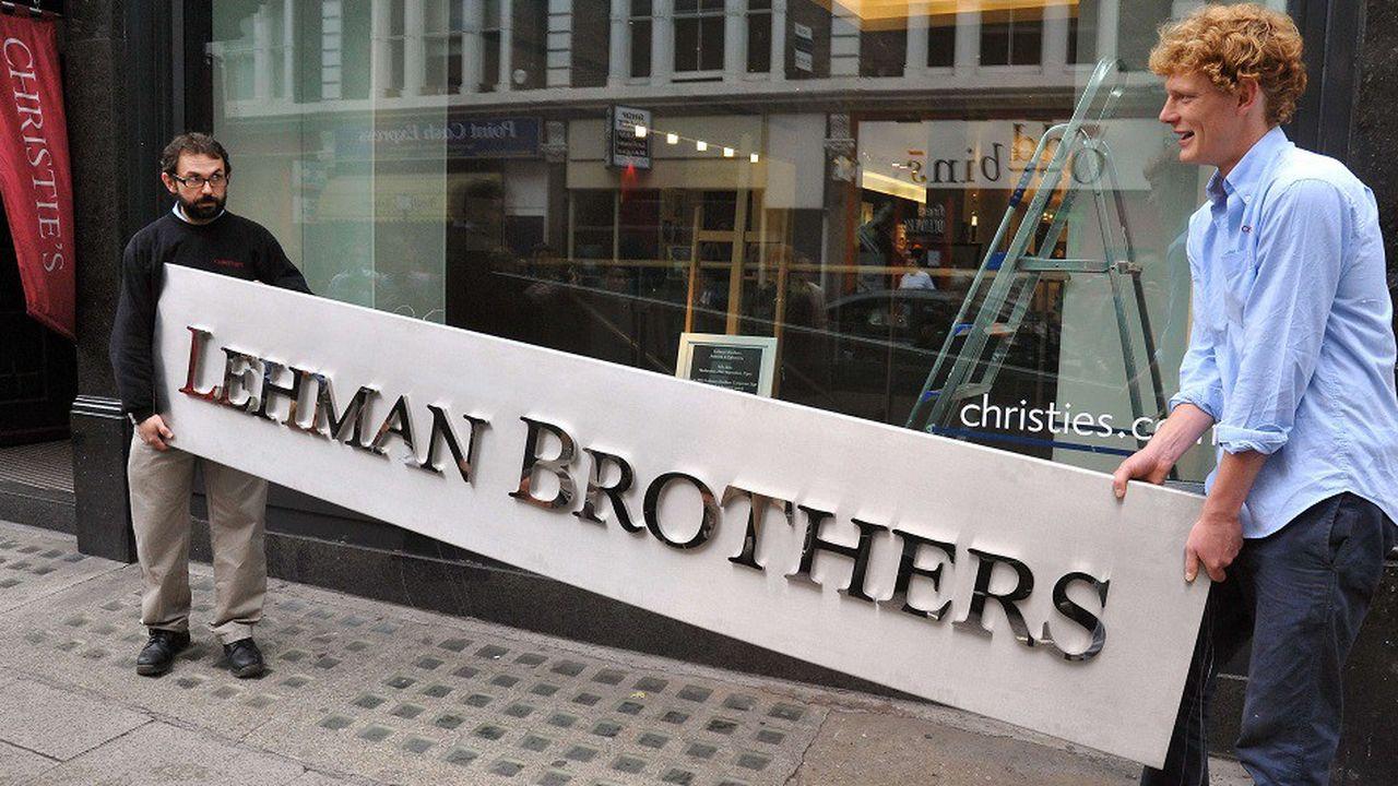 Le logo «Lehman Brothers» lors d'une vente aux enchères chez Christie's, à Londres en 2010