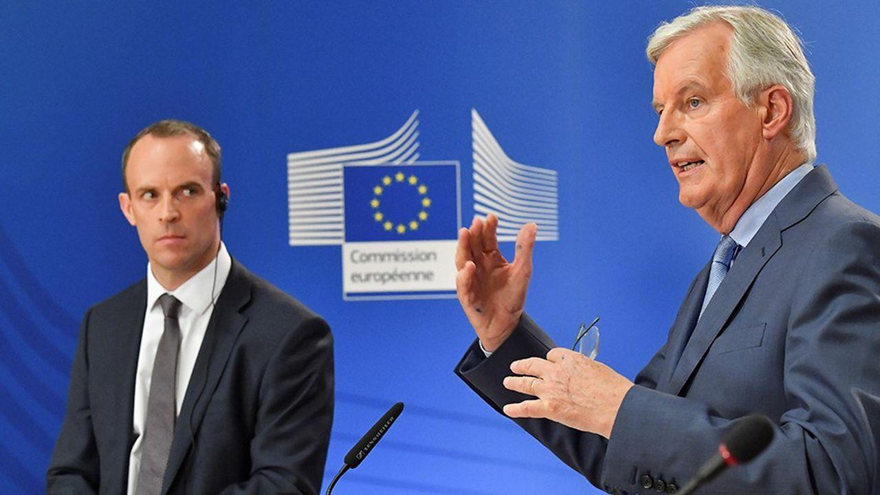 Troisième rencontre, mardi, entre le négociateur en chef de l'Union européenne pour le Brexit,Michel Barnier, et le nouveau secrétaire d'Etat britannique en charge du sujet,Dominic Raab, depuis la démission de David Davis en juillet.