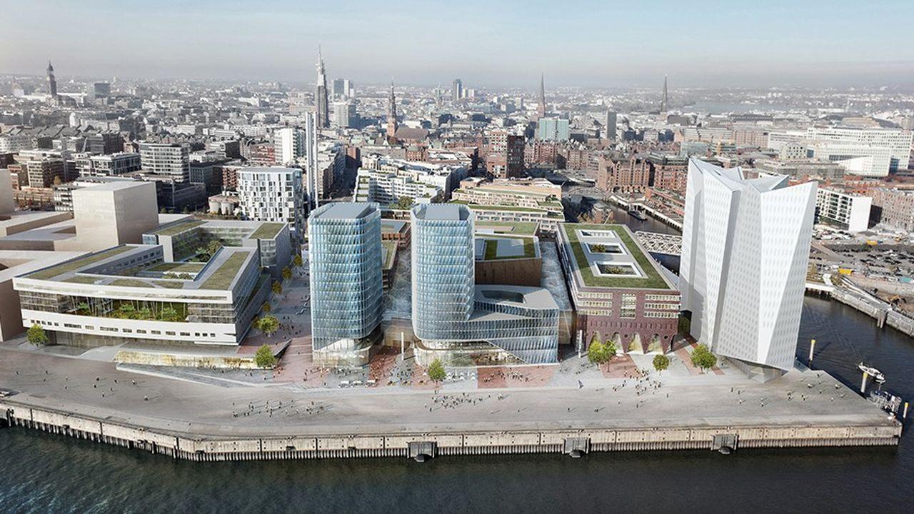 Partie sud de Übersee, quartier d'Hafen City à Hambourg réaménagé par Unibail.
