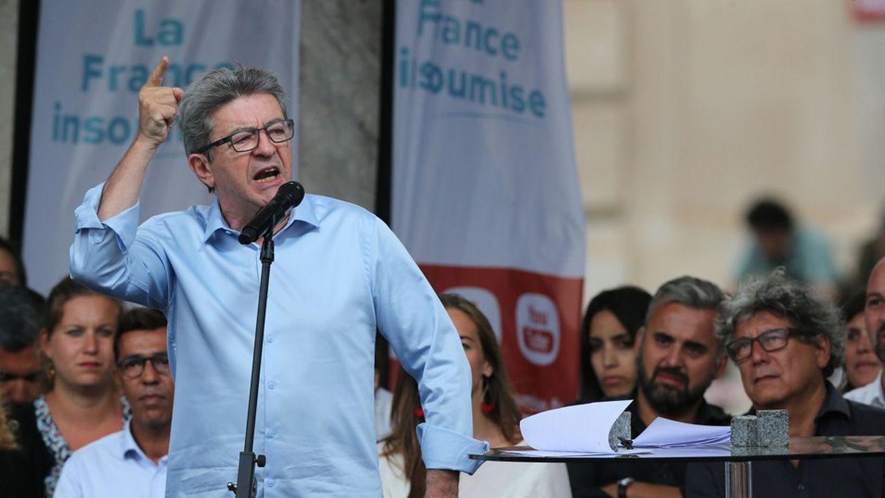 Jean-Luc Mélenchon, le leader de la France insoumise, lors d'un discours à Marseille le 25 aout.