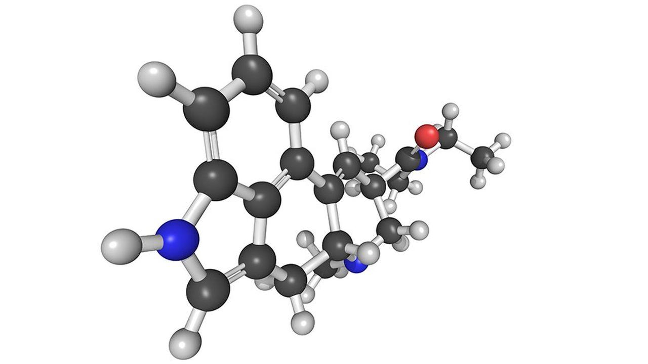 Molécule du diéthylamide de l'acide lysergique (LSD). Mis au point dans les années 1940 par le laboratoire suisse Sandoz, le LSD a connu son heure de gloire vingt ans plus tard comme drogue psychédélique.