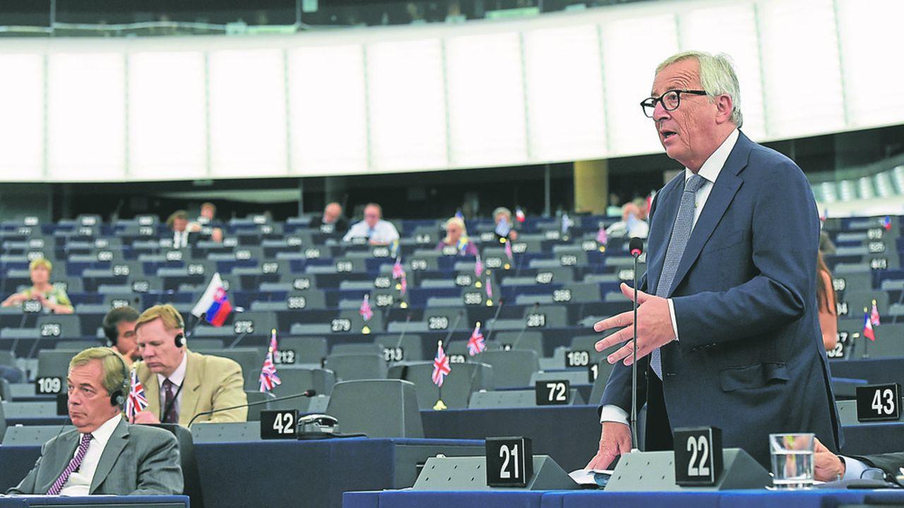 Le président de la Commissioneuropéenne, Jean-Claude Juncker, au Parlement à Strasbourg.