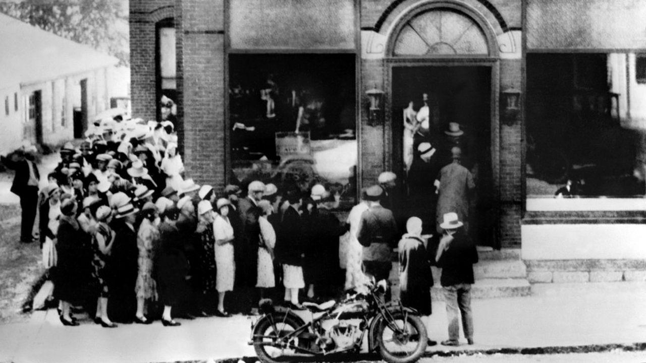 Un «bank run» à Millbury, dans le Massachusetts, en octobre1929, après le krach de Wall Street.