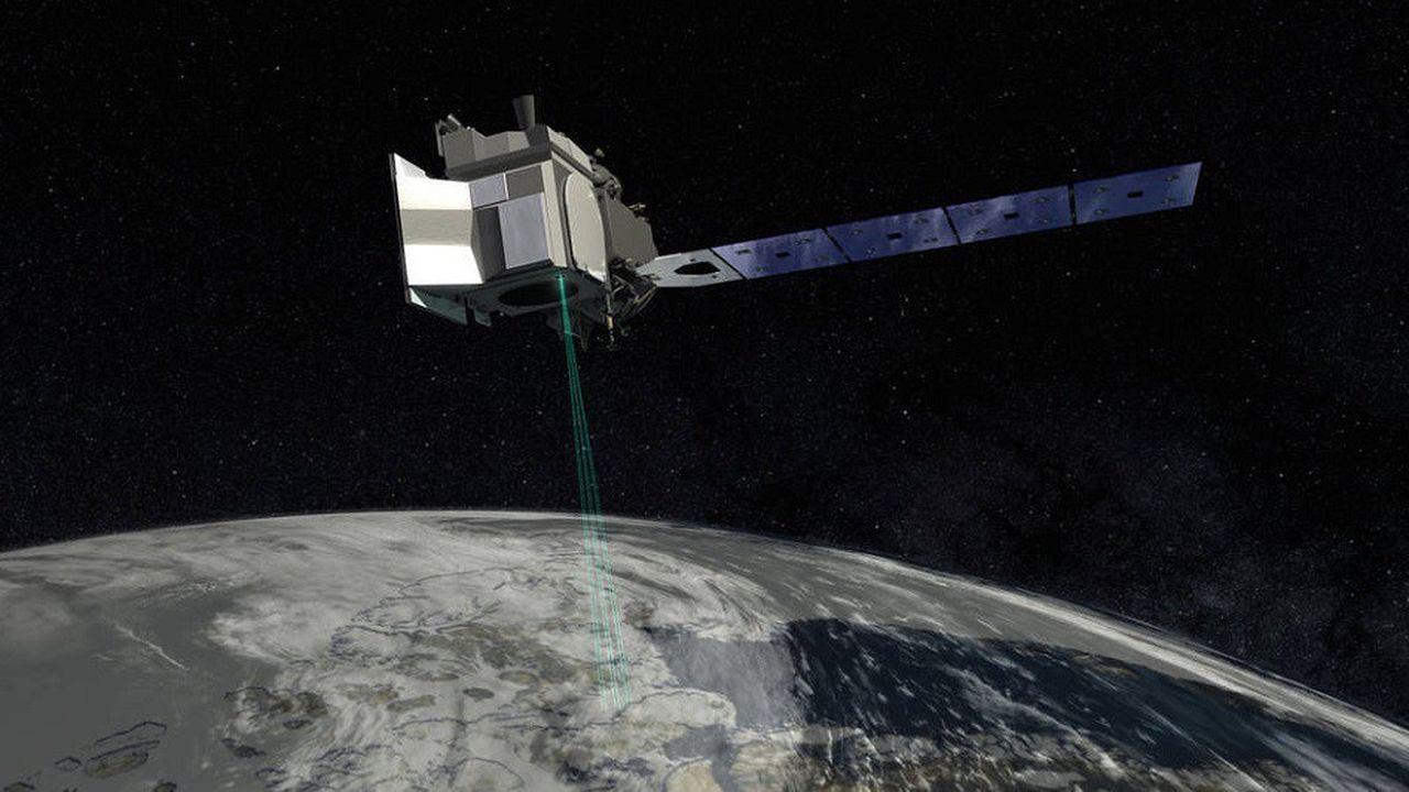 Le satellite ICESat-2 en orbite à 500km de la surface (vue d'artiste).
