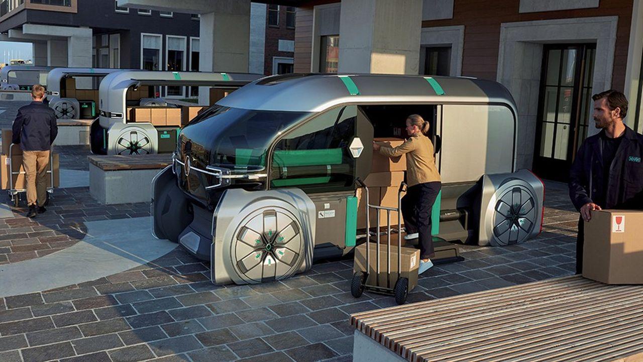 Le robot livreur de Renault sera équipé de casiers déverrouillables via une application sur son smartphone.