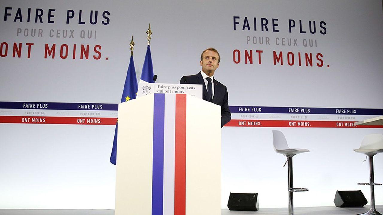 Emmanuel Macron au Musee de l'Homme, présente son plan pauvreté le 13 septembre 2018