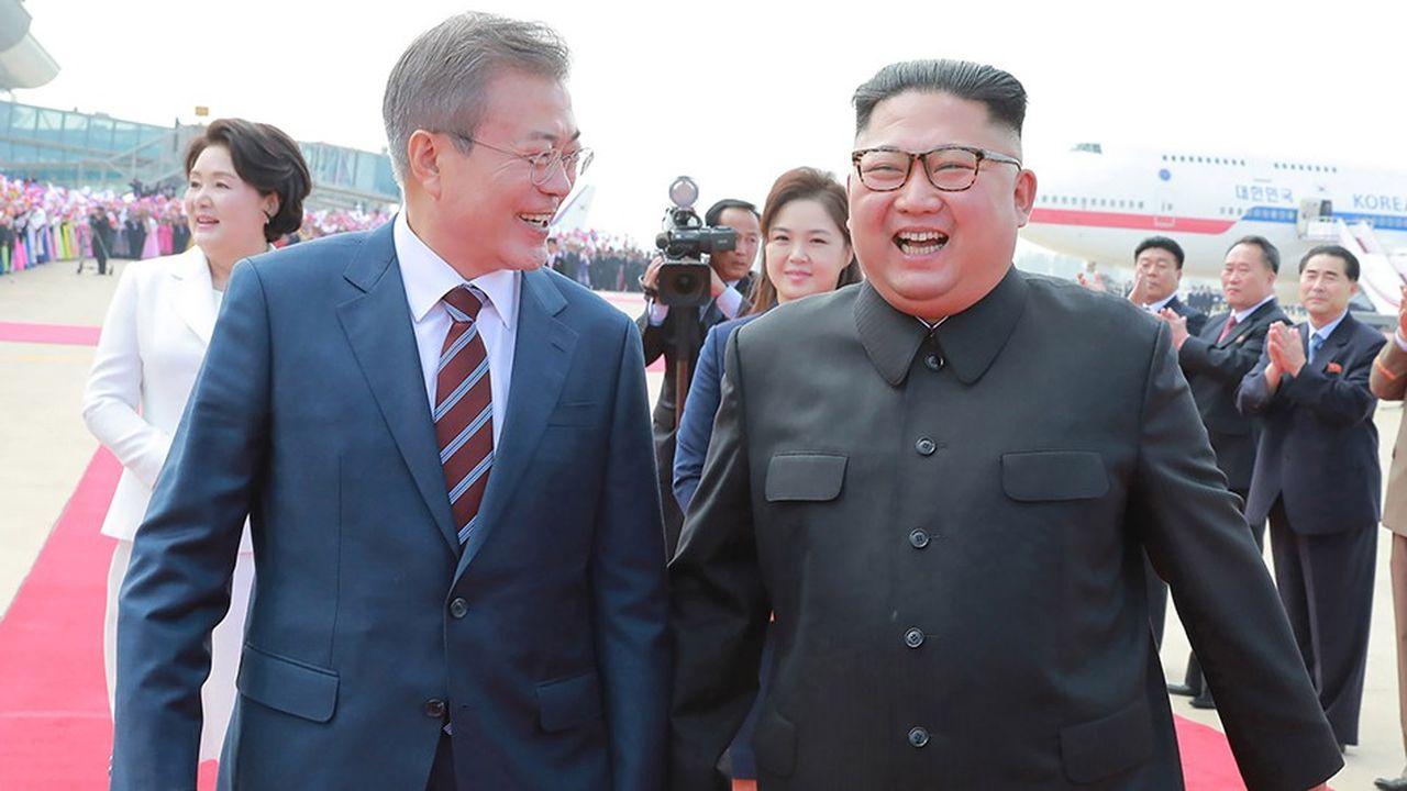 Les dirigeants de Corée du Sud et de Corée du Nord, lors d'un somment à Pyongyang en septembre2018.