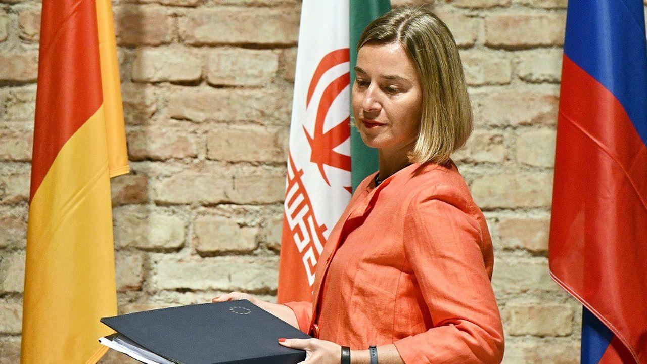 Federica Mogherini, lors d'une réunion de travail sur le nucléaire irakien le 6juillet 2018