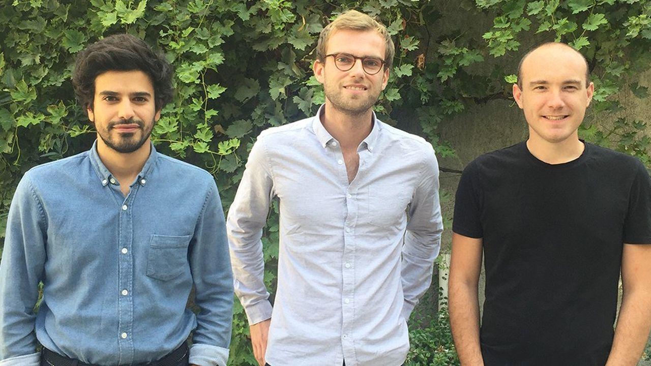 Les cofondateurs de Gleamer: Christian Allouche, président, Alexis Ducarouge, directeur scientifique, et Nicolas Cosme, directeur technique (de gauche à droite).