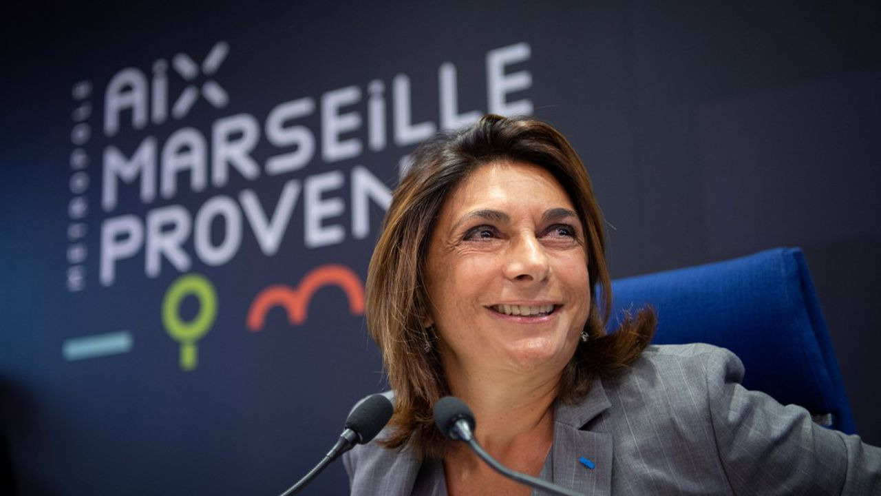 Martine Vassal lors de son élection à la tête de la métropole d'Aix-Marseille-Provence.