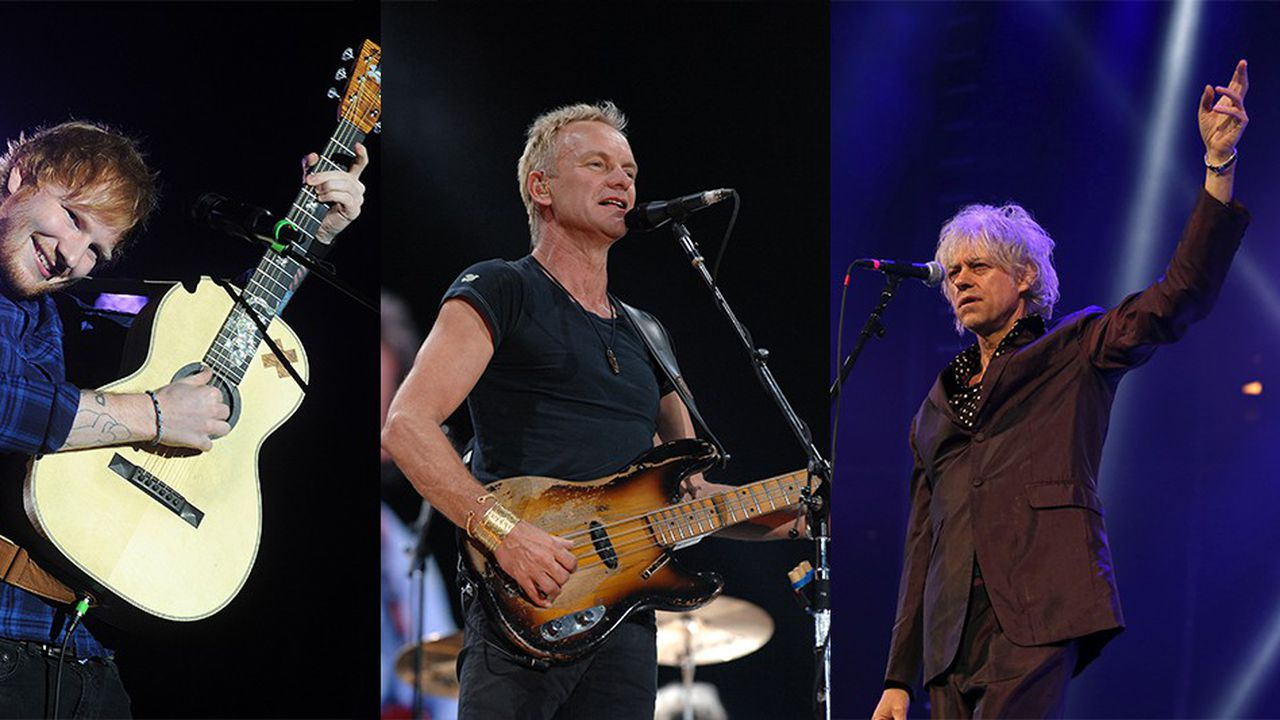 De gauche à droite: Ed Sheeran, Sting et Bob Geldof.