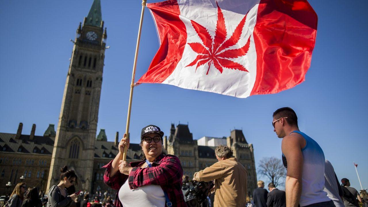 Une manifestante à Ottwa, en avril2016, avec un drapeau canadien sur lequel une feuille de cannabis remplace la traditionnelle feuille d'érable.