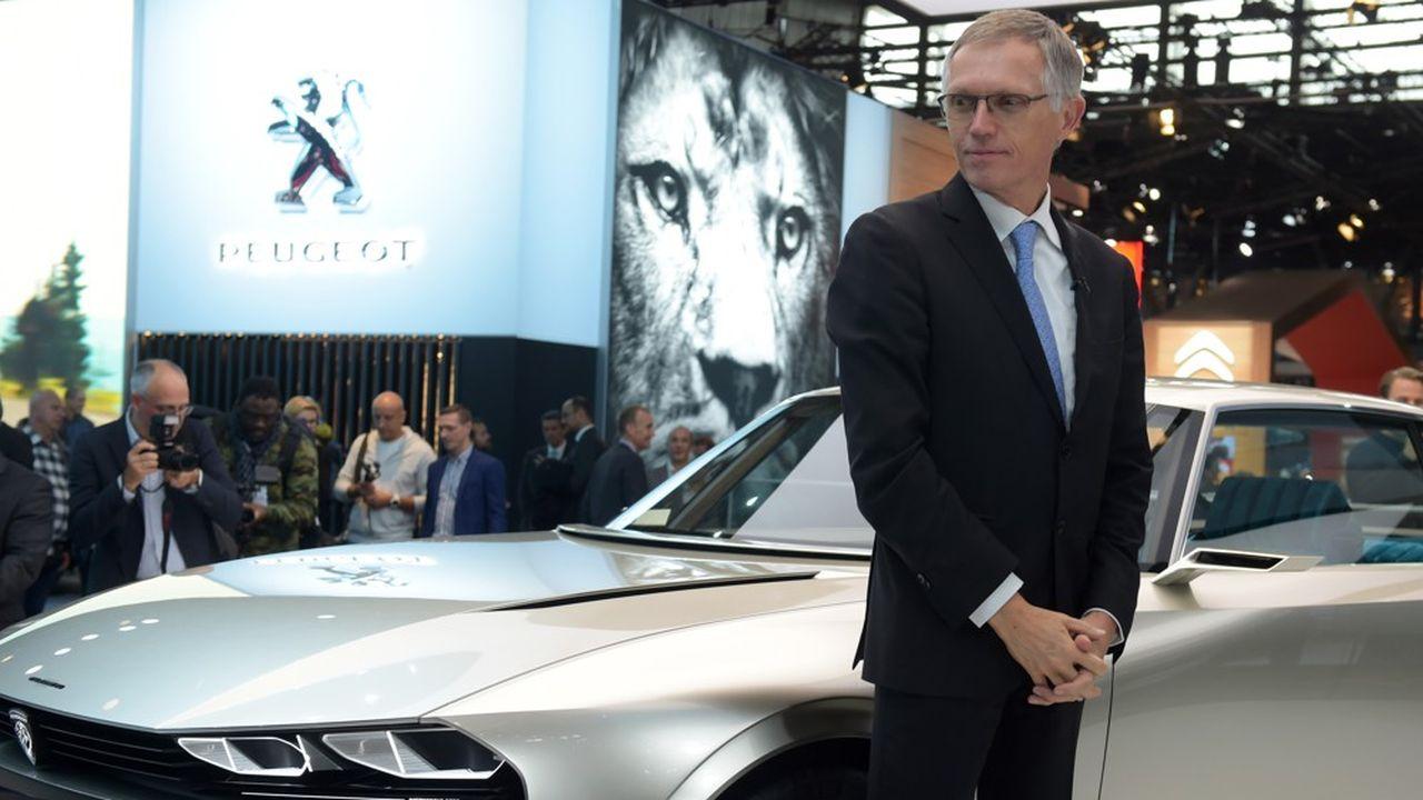Le PDG de PSA, Carlos Tavares, lors du salon de l'automobile, le 2octobre 2018