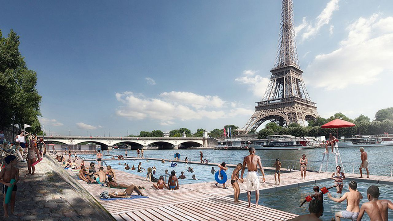 L'un des cinq sites de baignade est prévu près du Trocadero avec une vue imprenable sur la tour Eiffel.