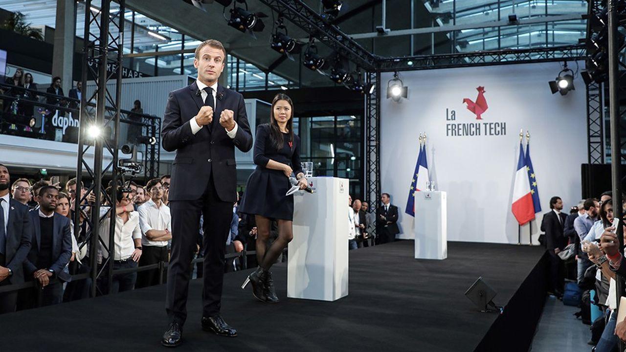 Le président de la République Emmanuel Macron lors de son discours du 9 octobre à Station F .