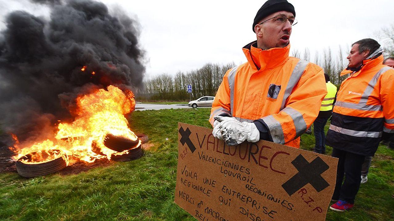 Manifestation contre la fermeture de l'aciérie Ascoval à Saint-Saulve, près de Valenciennes.